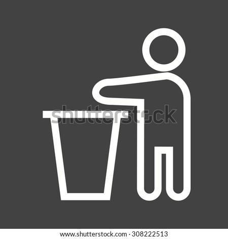 bin  litter  trash icon vector