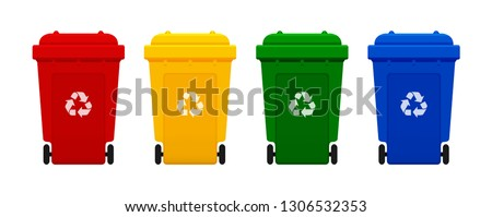 bin plastic, four colorful recycle bins isolated on white background, red, yellow, green and blue bins with recycle waste symbol, front view of four recycle bin plastic, 3r (vector)