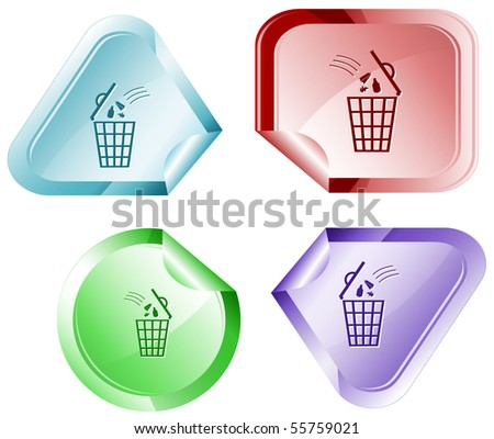 Bin. Vector sticker. - stock vector