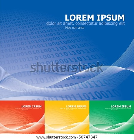Binary background with sample text, curved lines and several color samples