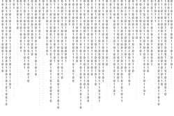 Binary code background. Falling, streaming binary code background. Digital technology wallpaper. Cyber data, decryption and encryption. Hacker background concept. Vector