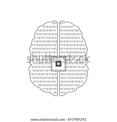 Binary code human brain. Vector illustration