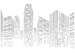 Binary code in form of futuristic city skyline vector illustration