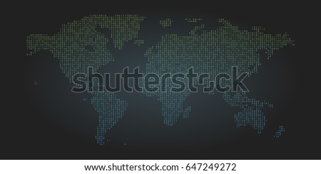 Binary code world map background. Zero and one abstract symbols. Coding programming concept vector illustration.