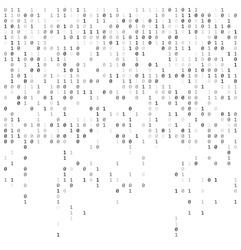 Binary falling numbers like matrix.  0,1 digits on white background template