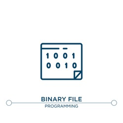 binary file vector line icon. Simple element illustration. binary file outline icon from programming concept. Can be used for web and mobile