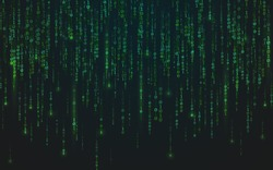 Binary matrix background. Green falling digits. Running bright numbers. Abstract data stream. Futuristic code backdrop. Cyber system concept. Vector illustration.
