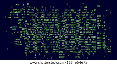 Binary matrix on dark background. Concept illustration for infosec and cryptography subjects.