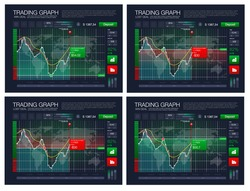 Binary option. All situation on market: Put Call, Win Lost deal. Futuristic user interface. Infographic elements. Abstract virtual graphic touch HUD UI for business app. Screen monitor set web element