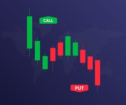 Binary Option Background. Candlestick chart stock. Green and red candle. Trading vector
