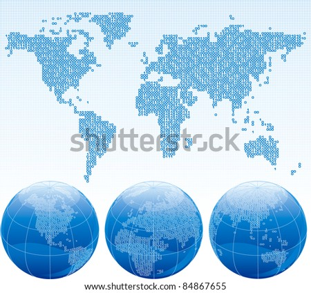 Binary world. Vector map of the world and globes with binary code