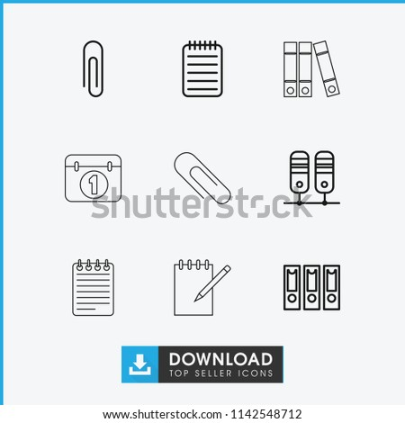 Binder icon. collection of 9 binder outline icons such as paper clip, notebook. editable binder icons for web and mobile.