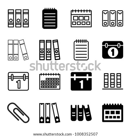 Binder icons. set of 16 editable filled and outline binder icons such as calendar, notebook, binder