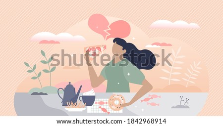 Binge eating as consolation with overeating and gluttony tiny person concept. Obesity after mental depression or brake up vector illustration. Loss substitution with unhealthy food consumption problem Stock photo ©