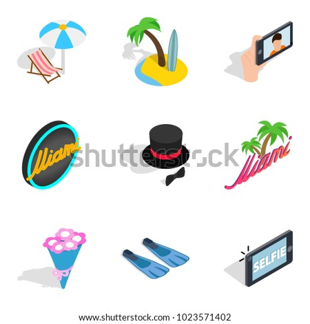 binge icons set isometric set