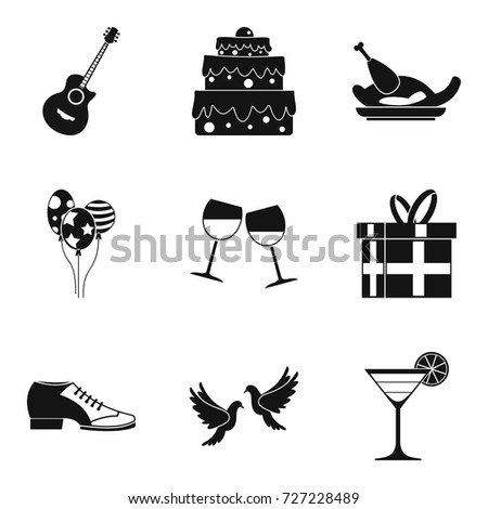 binge icons set simple set of