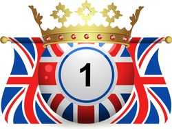 bingo ball with union jack design, crown and united kingdom flags