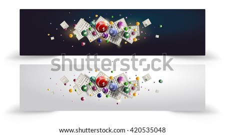 Bingo Balls and Cards Design on a Glowing Blue Background. Bingo balls and cards are flying on shiny background. Bingo or lottery vector design. Baner or site head design.
