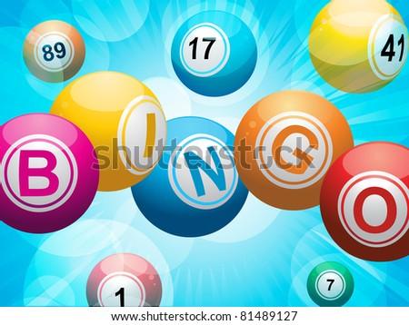 Bingo balls spelling the word \'bingo\' on a glowing blue background