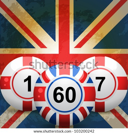 bingo balls with union jack and
