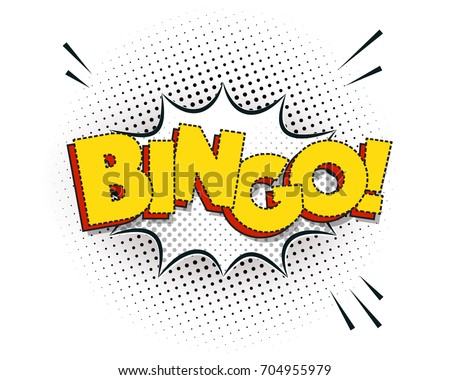 Bingo comic explosion isolated on white, vector illustration. Funny ...