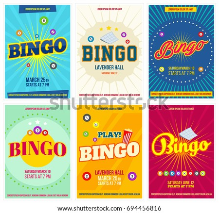 Bingo lottery posters set. Background game templates with balls for invitations, cards, ad and more. Retro. Vector Photo stock ©