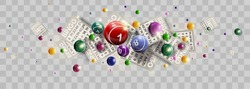 Bingo lottery ticket lucky balls and numbers of lotto vector design