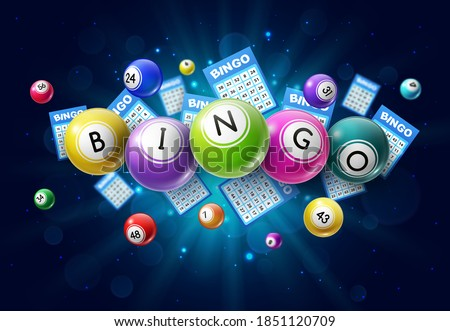 Bingo lotto game balls and lottery cards with lucky numbers on glowing background with sparkles. Vector poster for bingo lottery tv show, keno raffle and lotto win tickets gambling and win chance game