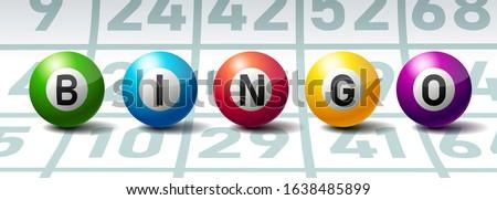 Bingo or Lottery Balls on Bingo Cards Photo stock ©