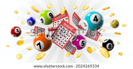 Bingo winner background with lottery tickets, balls and gold coins. Realistic keno gambling game win poster with cards burs vector concept. Illustration of lotto jackpot, casino gamble leisure