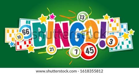 Bingo ! with lottery balls and bingo card Photo stock ©