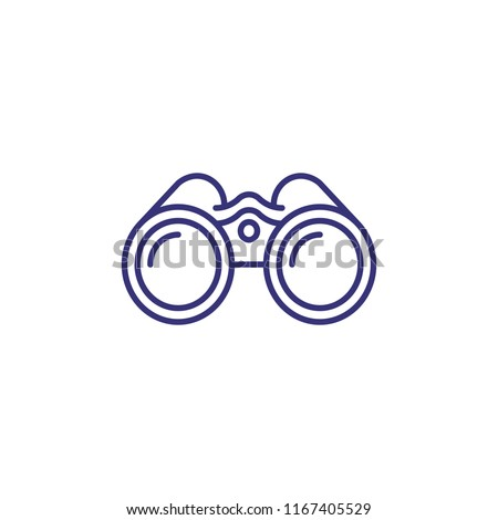 Binoculars line icon. Exploration, discovery, optical equipment. Navigation concept. Vector illustration can be used for topics like travel, tourism, nautical shipping