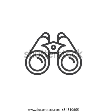 Binoculars line icon, outline vector sign, linear style pictogram isolated on white. Spy symbol, logo illustration. Editable stroke. Pixel perfect vector graphics