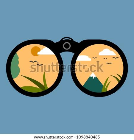 binoculars looking into the...