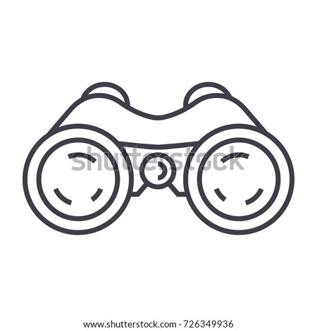 binoculars,periscope,vision vector line icon, sign, illustration on background, editable strokes