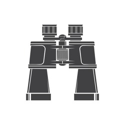 Binoculars silhouette isolated on white background. Vector illustration. Hunting binoculars.