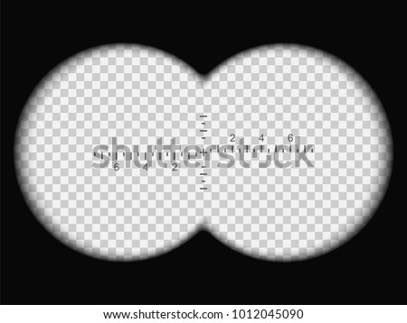 Binoculars view. Realistic vector illustration with transparent gradient lens. Framework for military, hunting or tourist designs. Two circles with transparency fields. Measuring scale in the center.