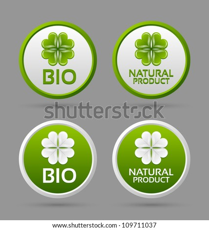 Bio and natural product badge icons isolated on grey background