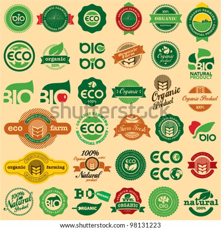 BIO & ECO, ORGANIC Labels Collection. Natural product sign set.