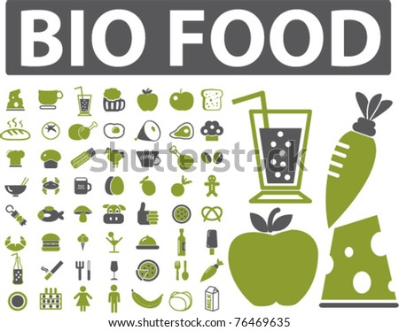 bio food icons, signs, vector illustrations