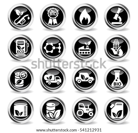 bio fuel icons on stylish round