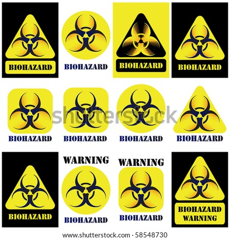 Bio-hazard vector sign, symbol set isolated on white and black