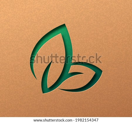 Bio leaf sign isolated papercut illustration concept with green plant leaves. 3D environment care cutout craft design in recycled paper background.