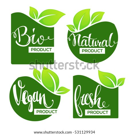 Bio, Natural, Vegan and fresh labels, banners and stickers collection