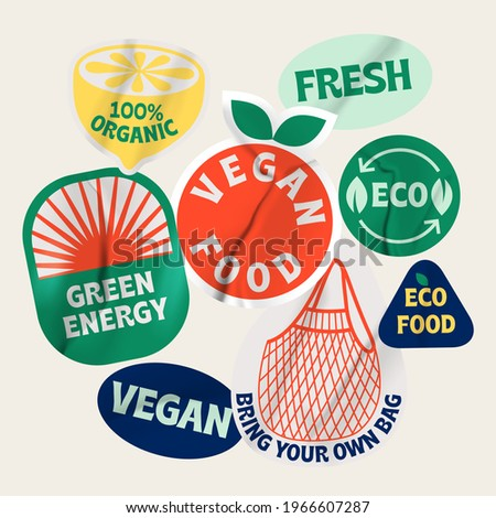 Bio organic labels. Ecology protecting, fresh, organic, vegan, green energy, recycle concept vector illustration icons set. Eco friendly lifestyle. Ecological stickers.