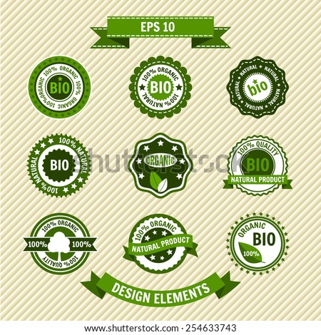 Bio product. Set of vector labels, emblems, icons. Eco Vintage template. Ecology theme. Retro logo design.