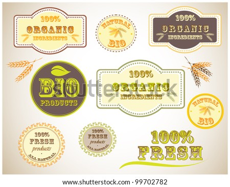 Bio Product Vintage Badges - stock vector