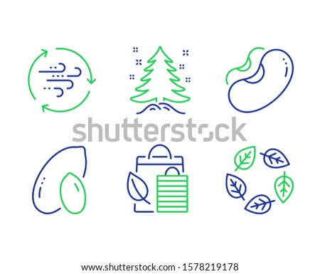 Bio shopping, Beans and Peanut line icons set. Wind energy, Christmas tree and Organic tested signs. Leaf, Vegetarian seed, Vegetarian nut. Breeze power. Nature set. Vector
