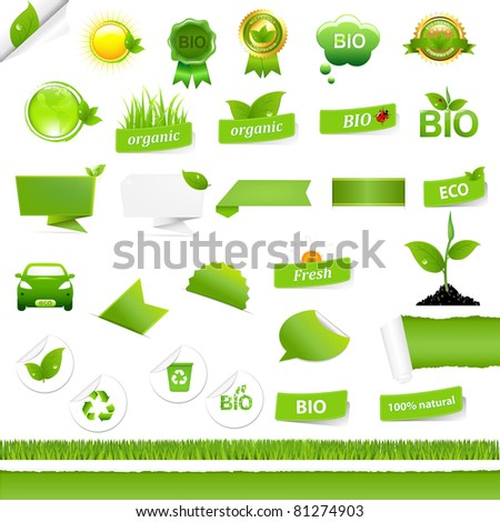 Bio Signs Set, Isolated On White Background, Vector Illustration