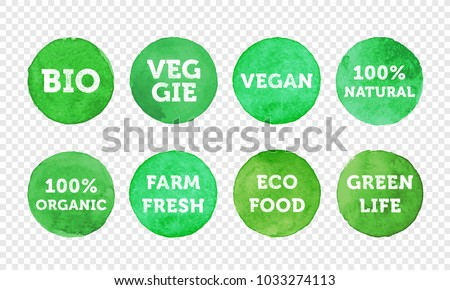 Bio, veggie, farm fresh, vegan, 100% organic and local food product label icon set. Vector green eco symbol for vegetarian banner, sticker tag or logo design. Healthy food badge emblem for packaging